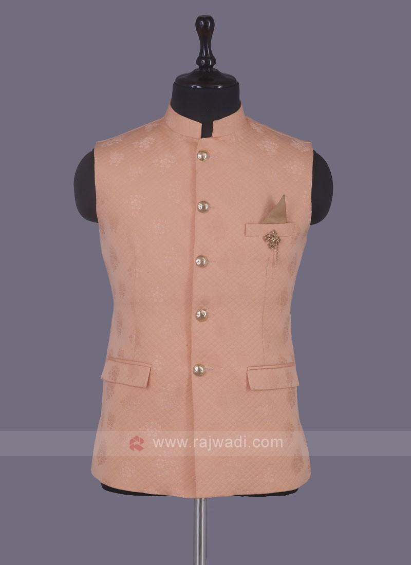 Art Silk Nehru Jacket In Peach