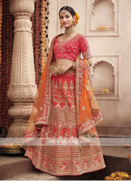 Art Silk Lehenga Choli In Crimson