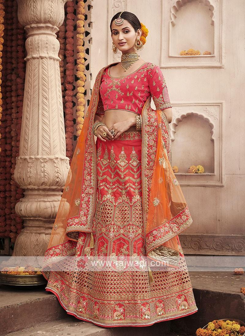 Art Silk Lehenga Choli In Crimson