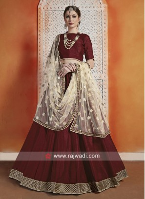 Art Silk Lehenga Choli in Maroon