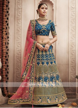 Art Silk Lehenga Choli In Rama Blue