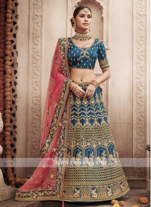 Art Silk Lehenga Choli In Rama Blue