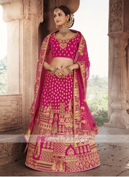 Art Silk Lehenga Choli In Rani