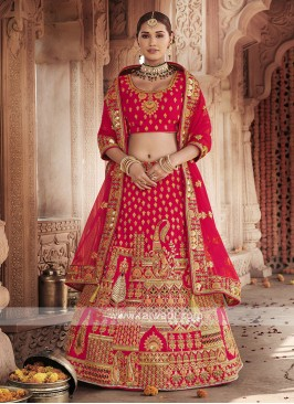 Art Silk Lehenga Choli In Red