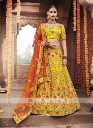 Art Silk Lehenga Choli In Yellow