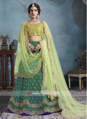 Art Silk Lehenga Set in Green