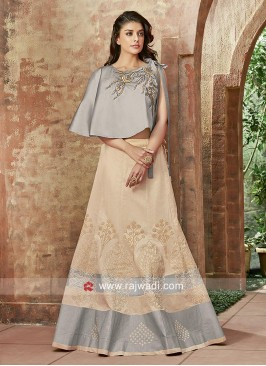 Art Silk Lehenga with Cape Style Choli