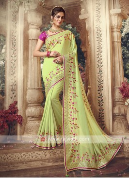 Art Silk Liril Green Saree