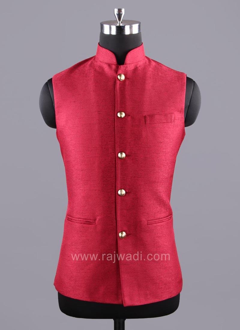 Art Silk Maroon Color Modi Koti