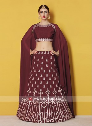 Art Silk Maroon Embroidered Lehenga