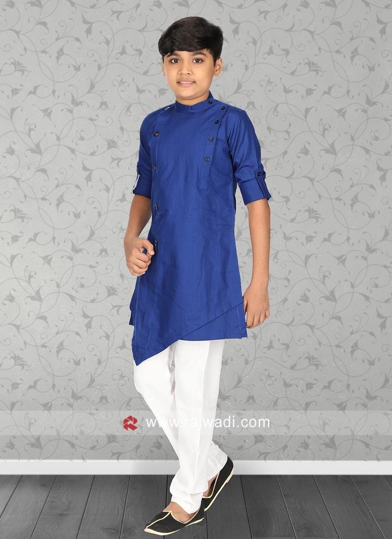 Cotton Silk Blue Pathani Set