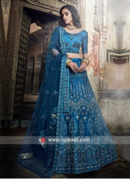Art Silk Medium Blue Lehenga Choli