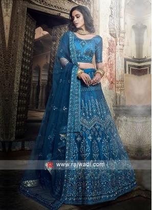 Art Silk Medium Blue Lehenga Choli
