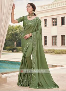 Art Silk Mehndi Green Saree