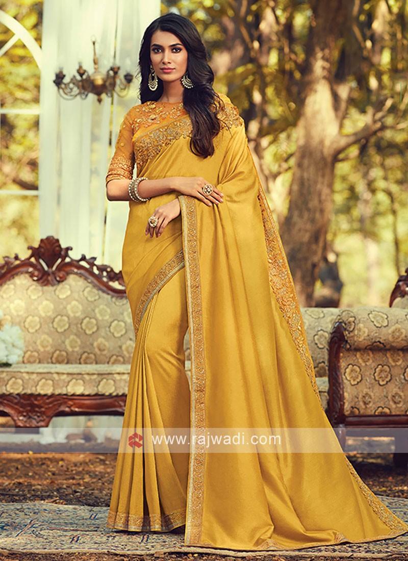 Art Silk Mustard Yellow Border Saree