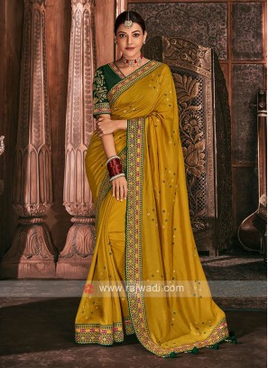 Art Silk Mustard Yellow Color Saree