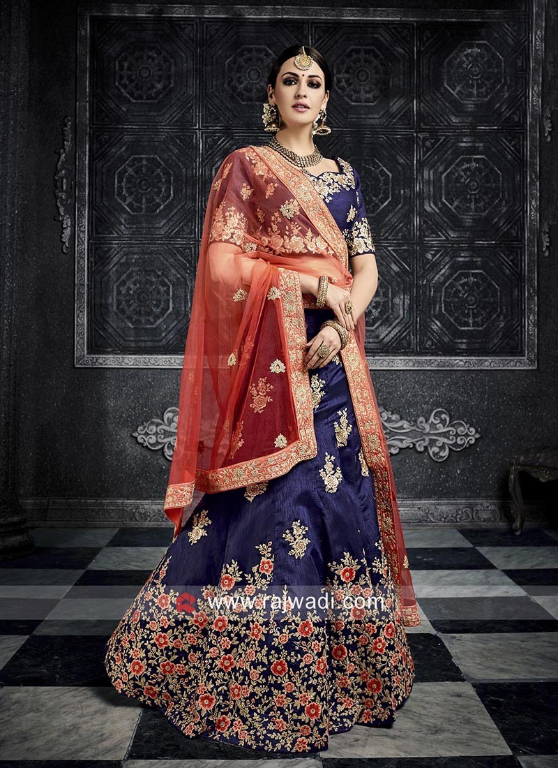 Art Silk Navy Blue Heavy Lehenga Choli