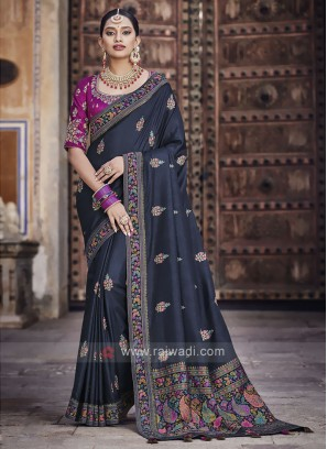Art Silk Navy Blue Saree
