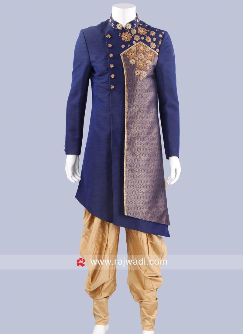 Art Silk Navy Color Indo Western Sherwani