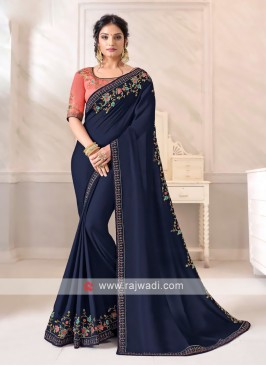 Art Silk Navy Color Saree