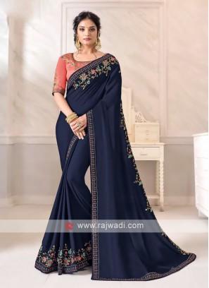Art Silk Navy Color Saree