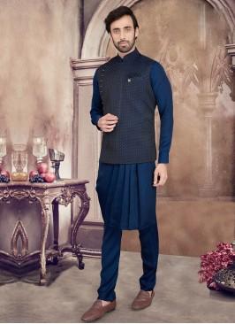 Art Silk Nehru Jacket In Cowl style