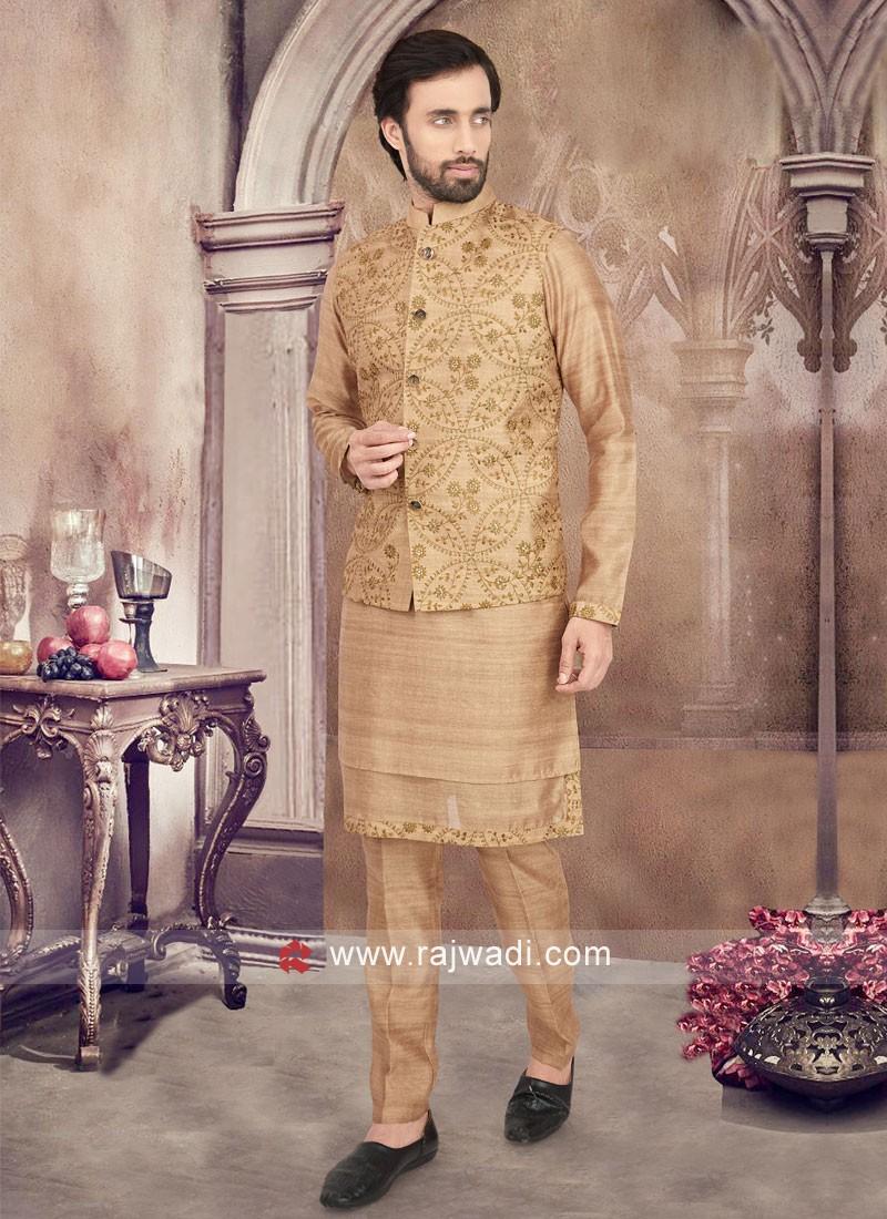 Art Silk Nehru Jacket Set