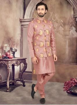 Art Silk Nehru Jacket Set With Patch Work