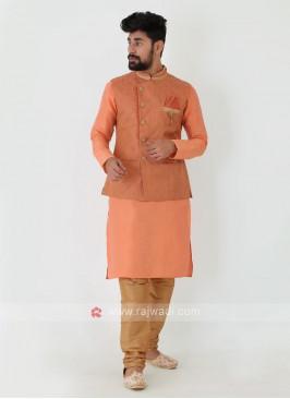 Art Silk Nehru Jacket Suit
