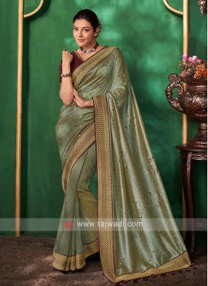 Art Silk Olive Color Saree