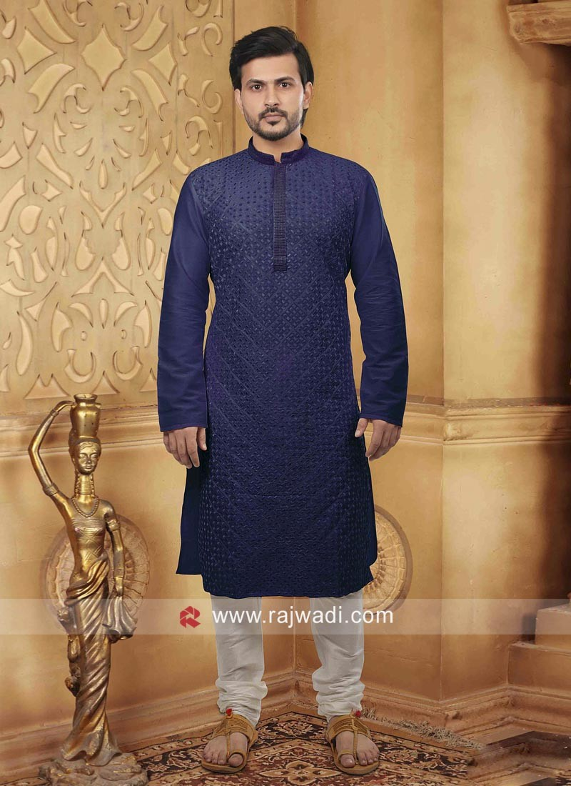 Dupion Silk Navy Color Kurta Pajama
