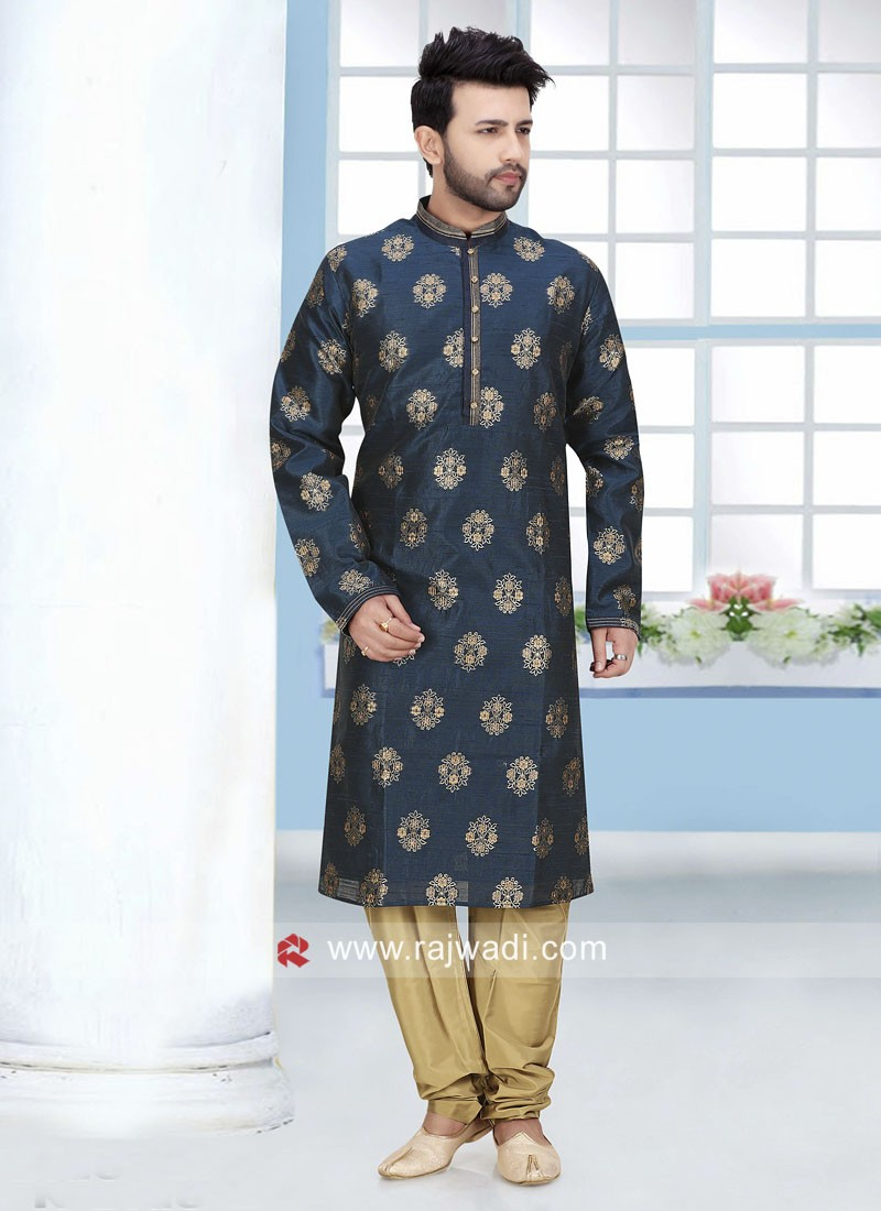 Art Silk Navy Color Kurta Pajama