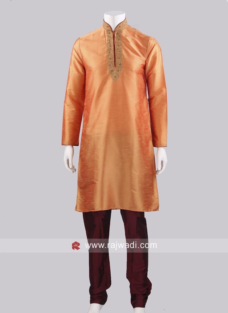 Art Silk Orange Color Kurta Pajama