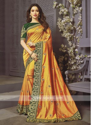 Art Silk Orange Designer Saree