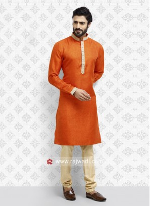 Art Silk Orange Kurta Pajama