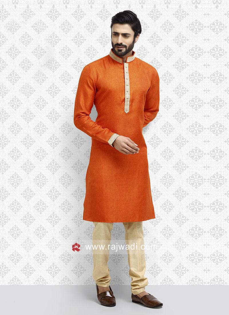 Art Silk Orange Kurta Pajama