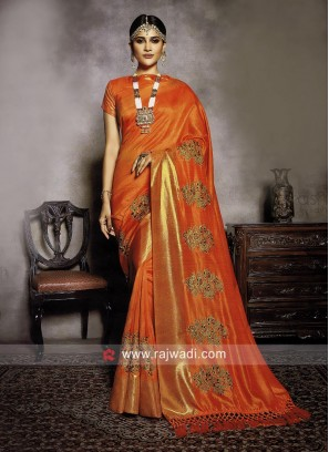 Art Silk Orange Saree