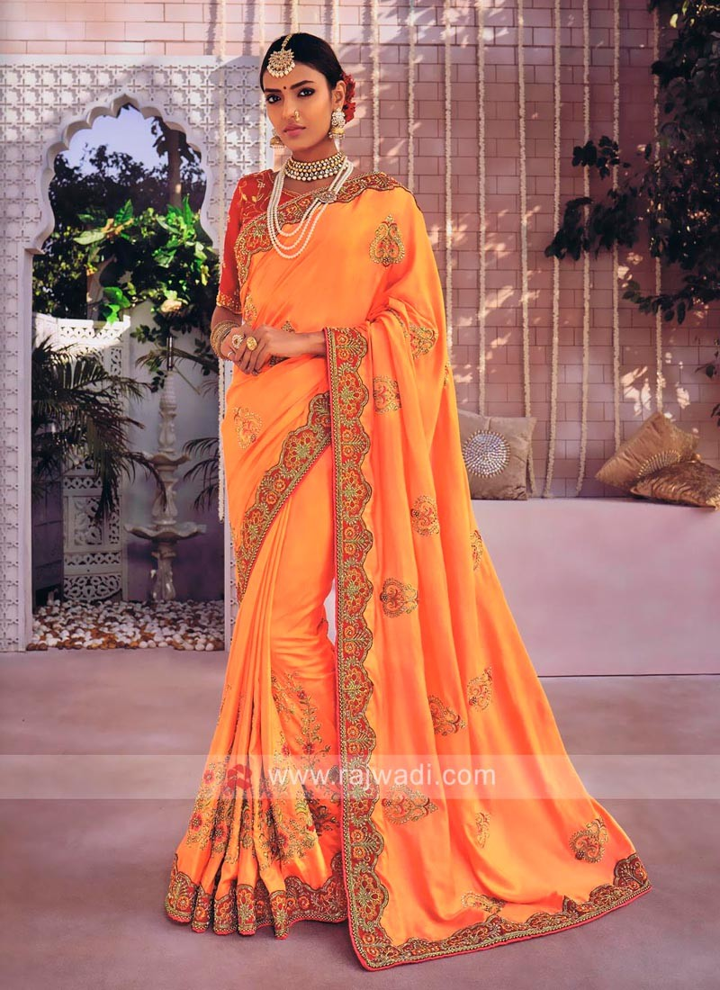 Art Silk Orange Saree with Designer Border