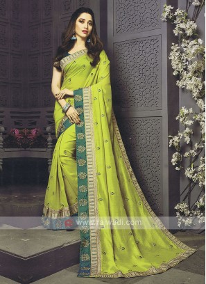 Art Silk Parrot Green Designer Saree