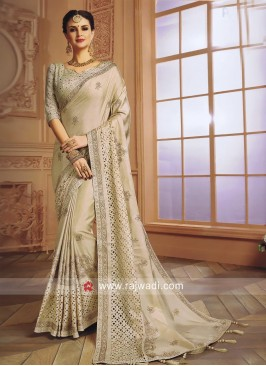 Art Silk Party Wear Saree in Cream