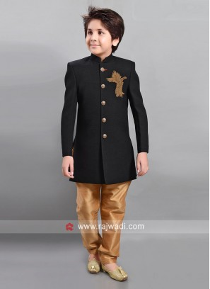 Art Silk Patch Work Trouser Suit in Black