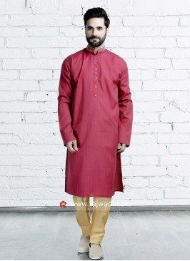Art Silk Crimson Color Kurta Set