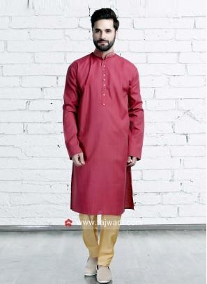 Art Silk Crimson Color Kurta Set