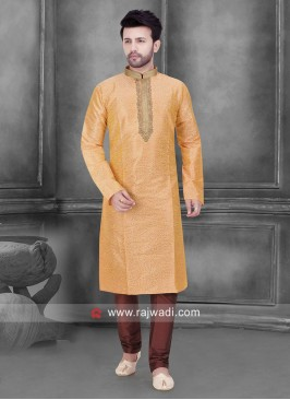 Art Silk Light Orange Color Kurta Set