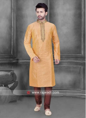 Art Silk Peach Color Kurta Set