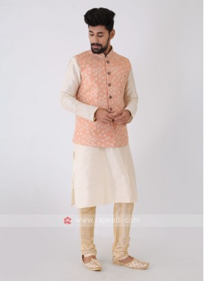 Art Silk Peach Color Zari Work Nehru Jacket Set