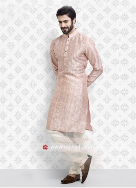 Art Silk Peach Kurta pajama