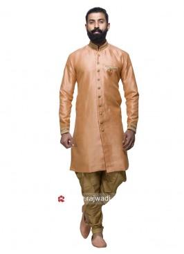 Art Silk Peach Patiala Suit