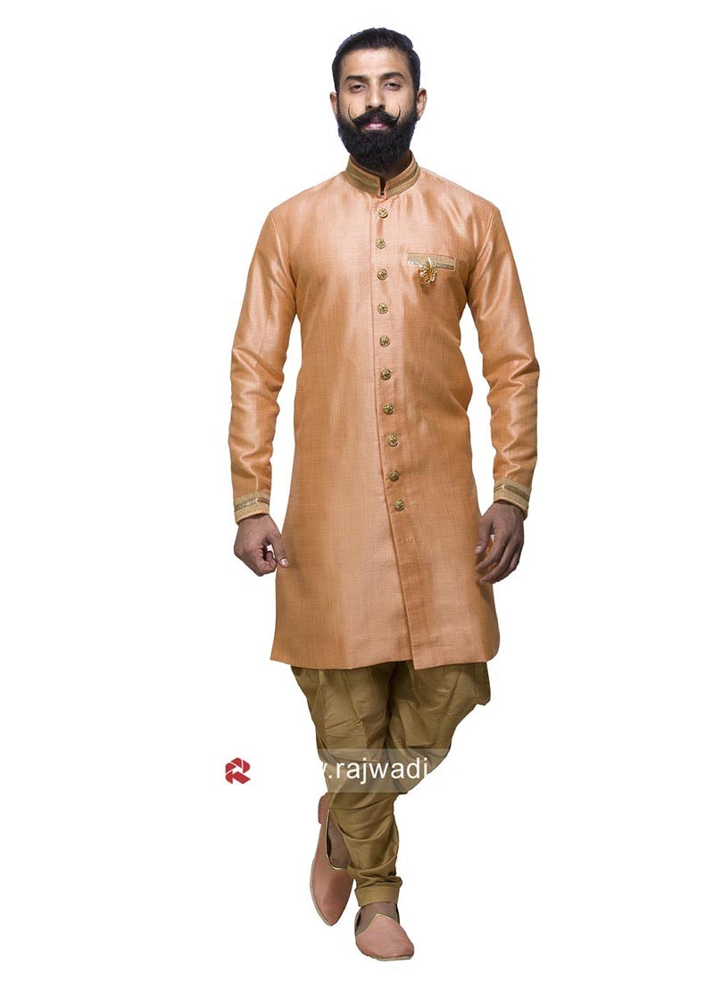 Art Silk Peach Patiala Suit