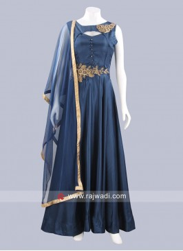 Art Silk Peacock Blue Anarkali Dress